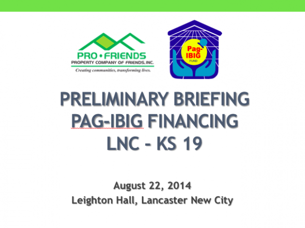 ProFriends' Pag-IBIG Financing